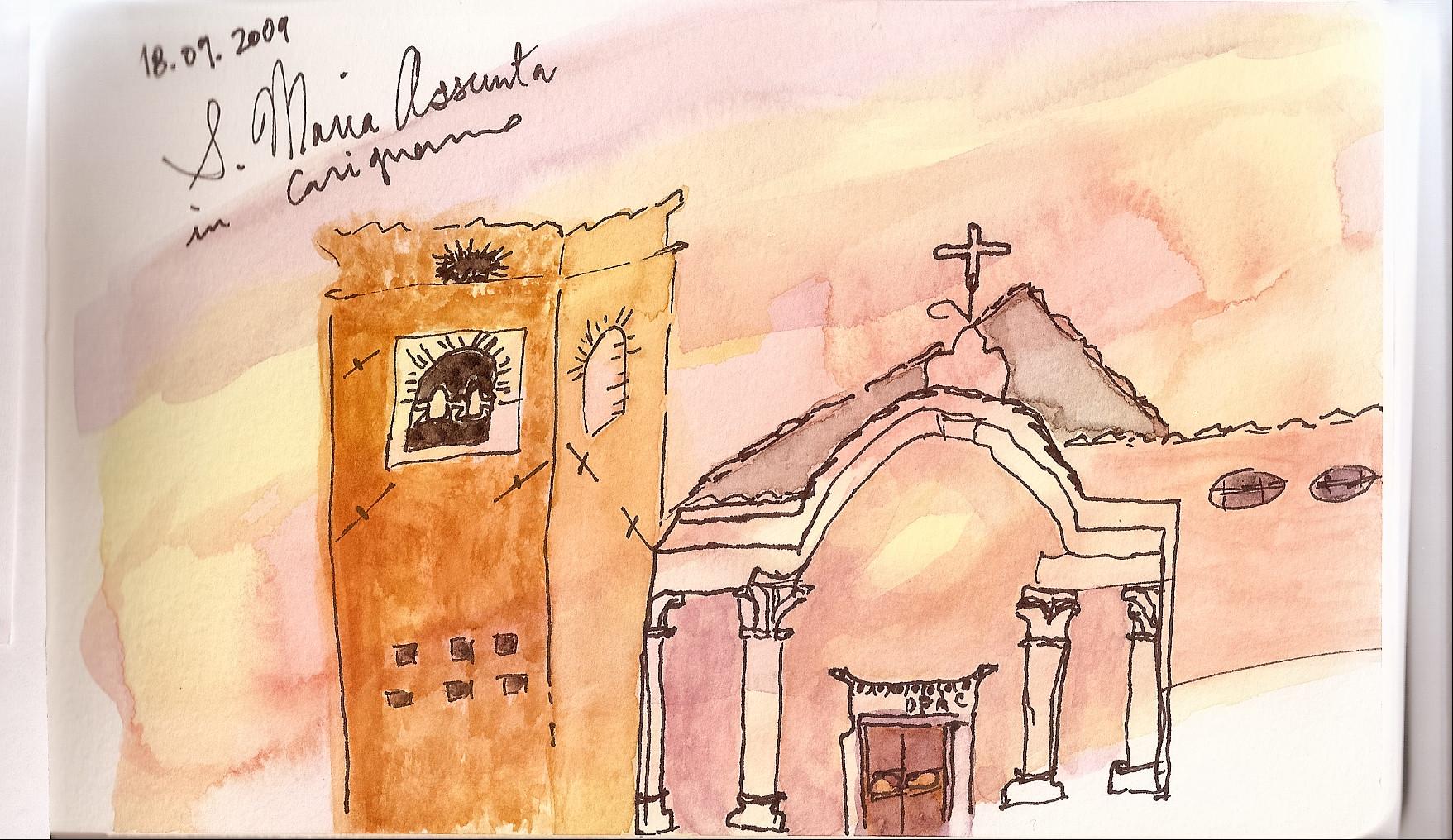 Lucca Watercolor Workshop June 2009, Carignano postcard
