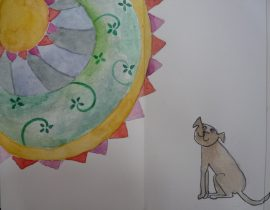 Dog in love with watercolor