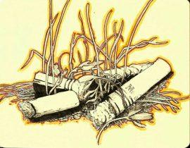 smokes…