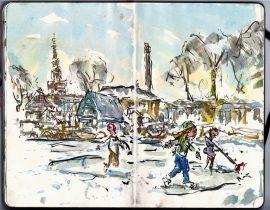 Winter watercolor sketch – Denmark