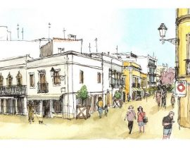 croquis sur le vif: Faro, centre – Portugal