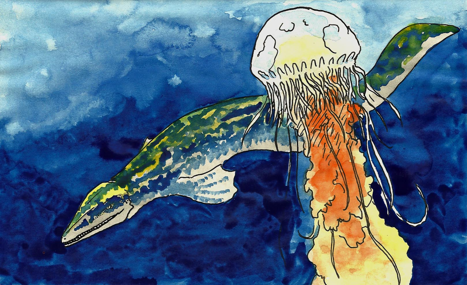 a mosasaur swims past a large jellyfish