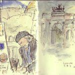 Paris, Monmartre Artist. Storm over The Louvre.