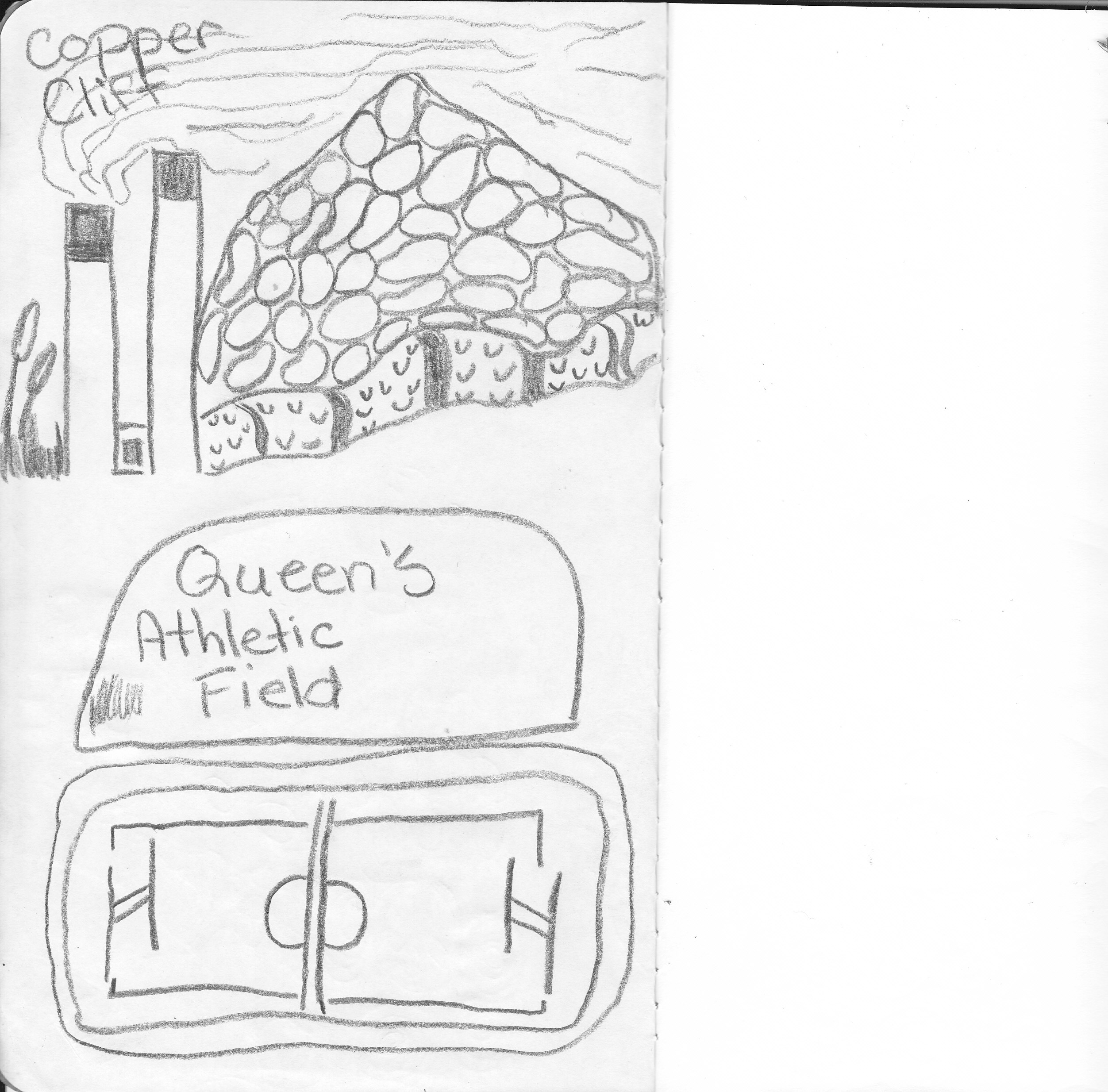 Queen's Alhletic Field and Copper Cliff chimneys