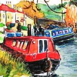 Red narrow boat