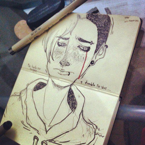 sand sketch, sketchbook, sketcher, drawing, ilustration, mexico , ross, monterrey, punk, portrait, ink , pen, art