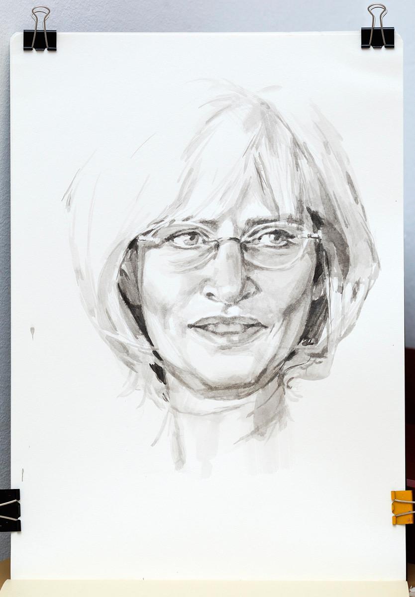 Watercolor portrait. Ink.