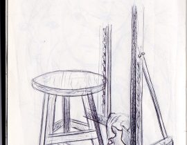 easel and stool