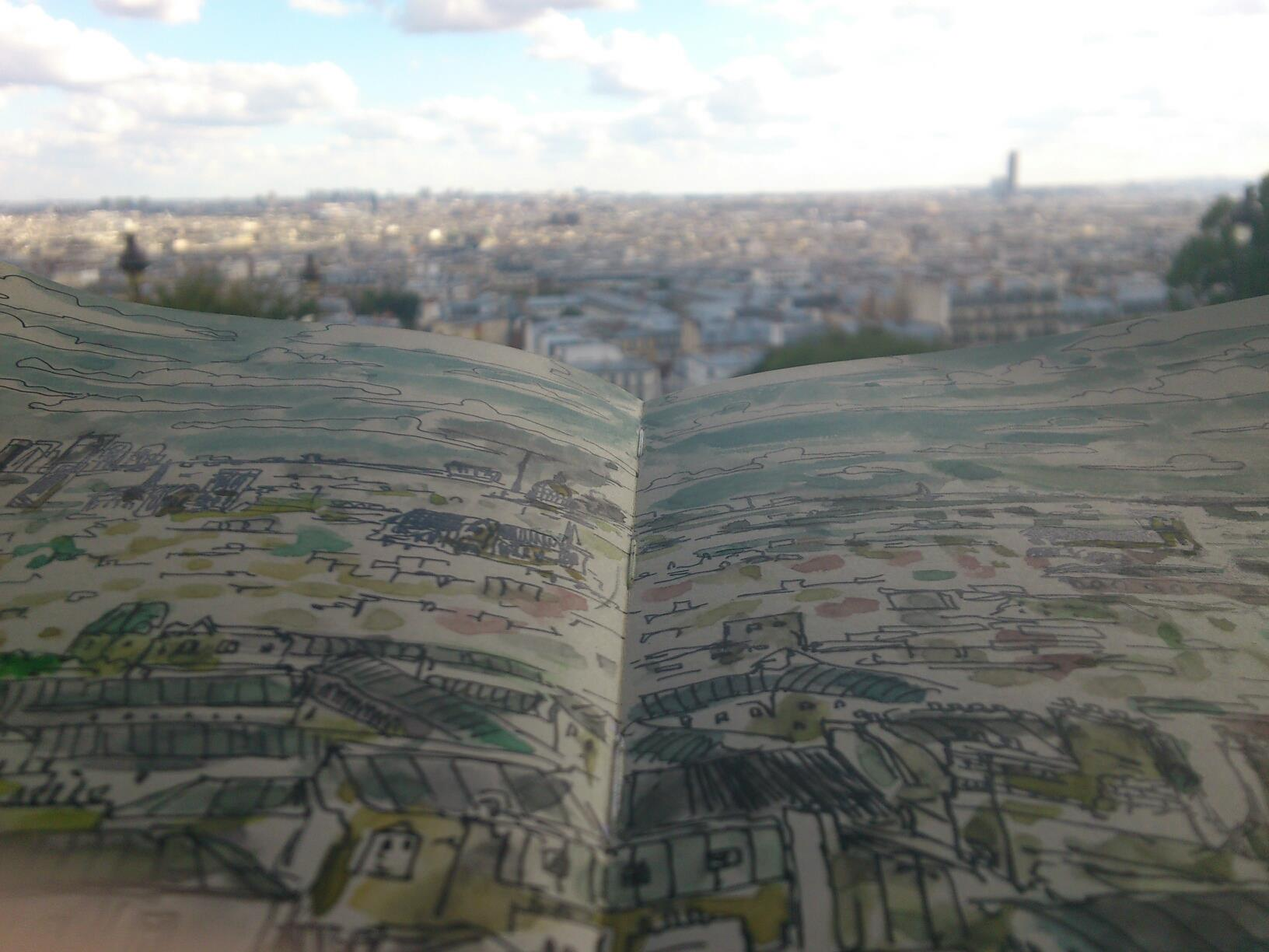 Montmartre, sketch and photo.