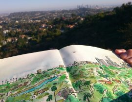 LA view from Griffith Park- Sketch+Photo