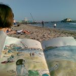 Santa Monica Beach- Sketch+Photo