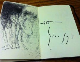 Anatomy draw & Yoshitaka Amano autograph.