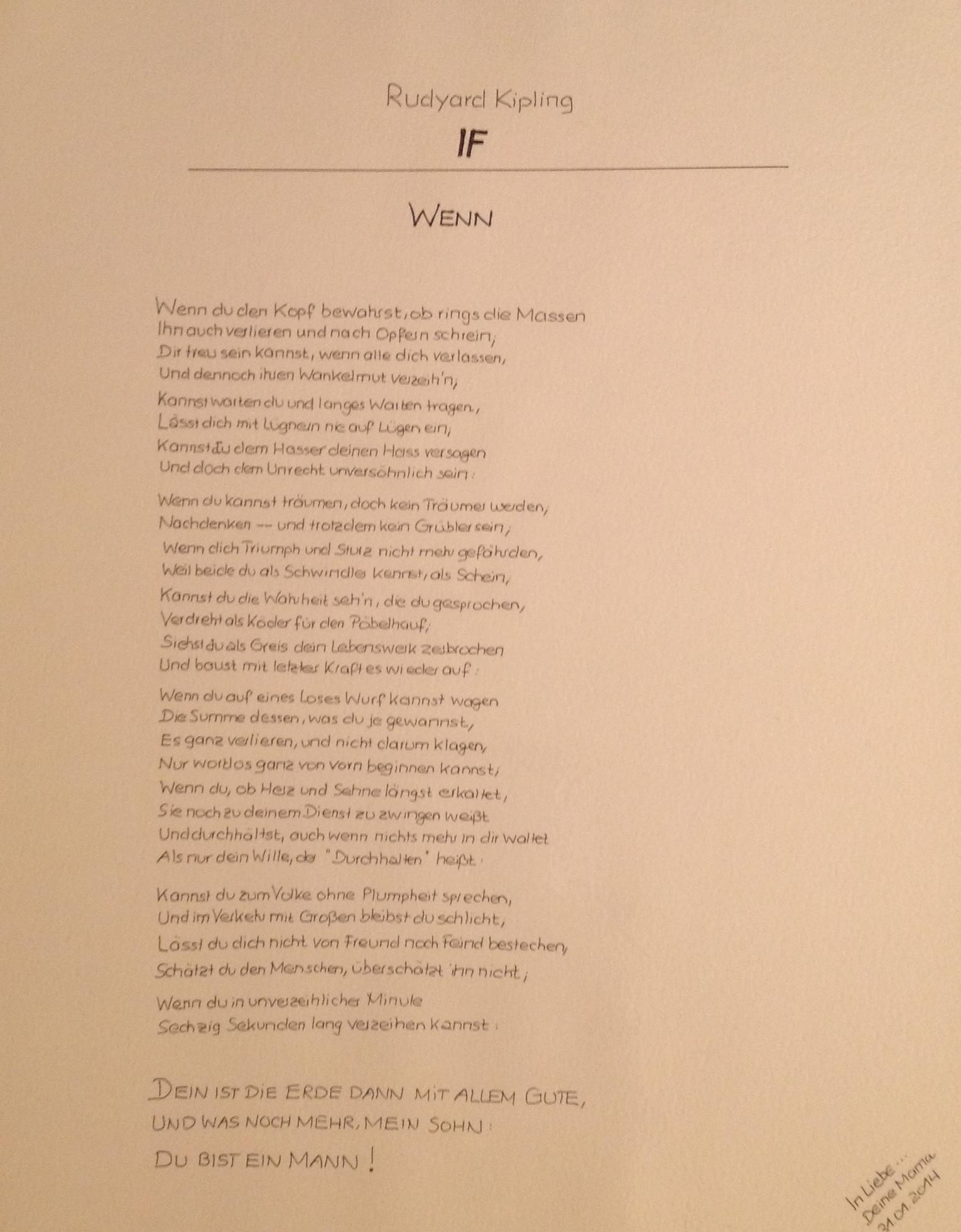 IF from R. Kipling (deutsche Übersetzung)