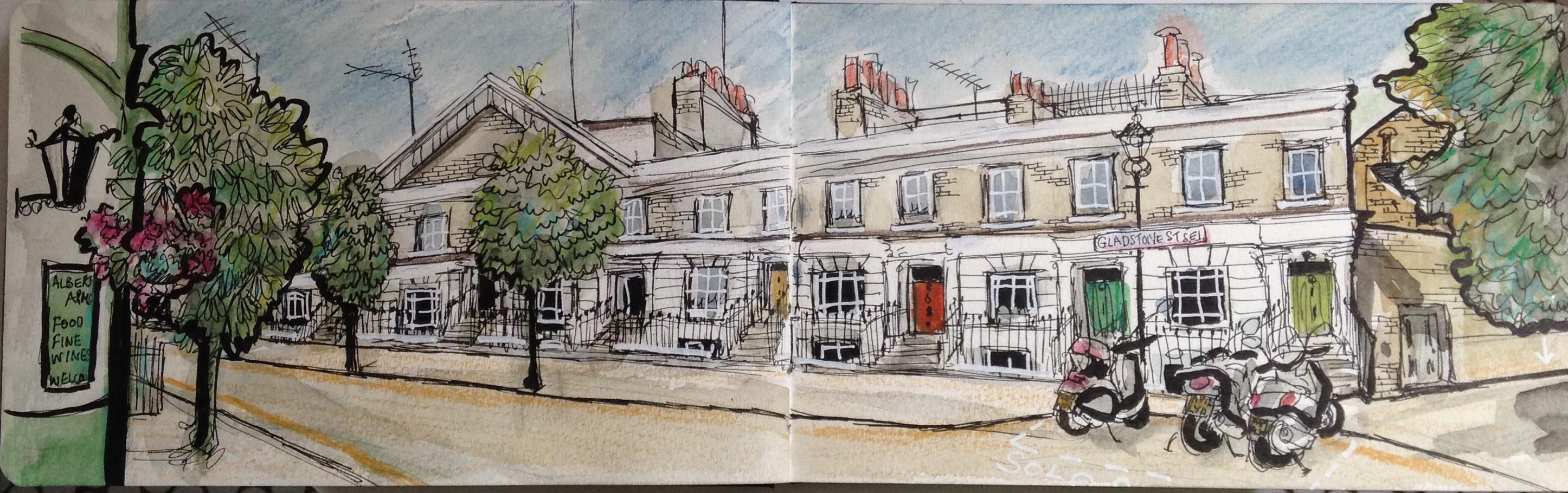 Gladstone Street from Albert Arms pub London Se1