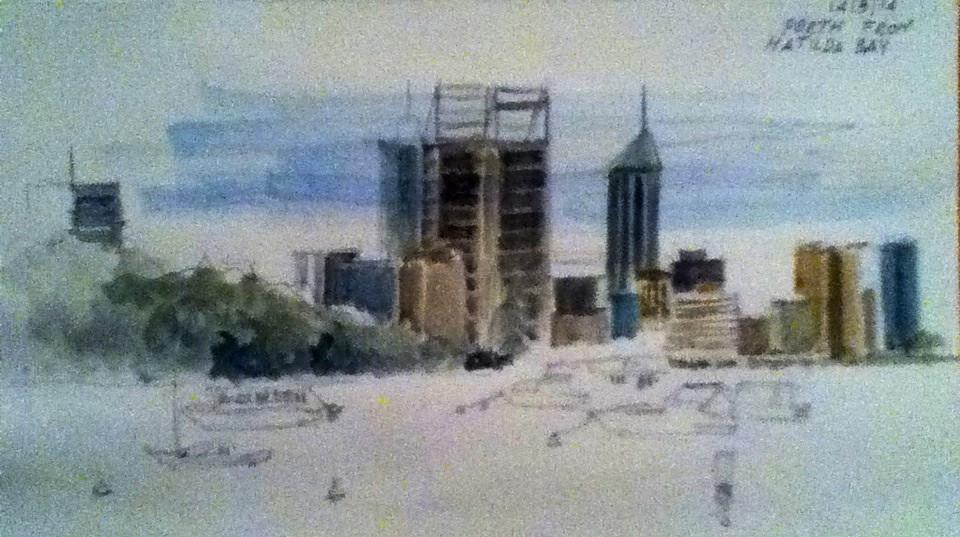 Skyline of Perth from Matilda bay