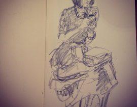 Guerilla sketching at London Fashion Week: at Amanda Wakeley