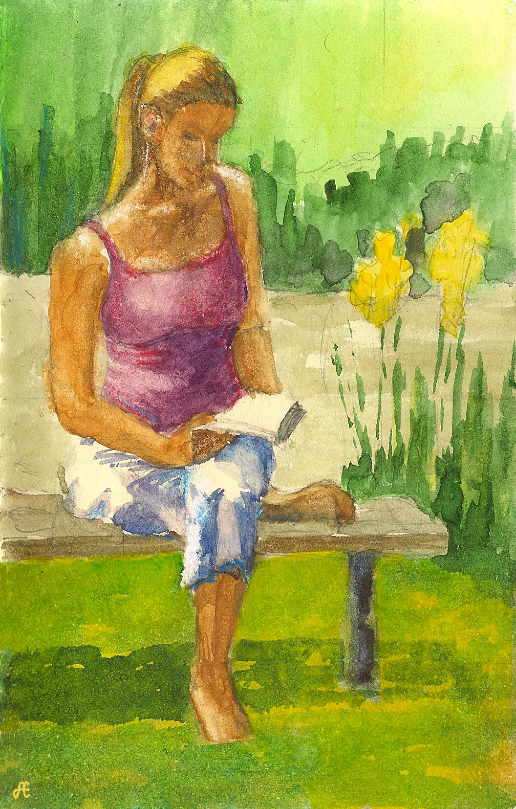 Reading outdoors at Quiet Waters Park