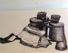 binoculars and bag