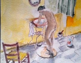 aquarelle d'après photo de ronis