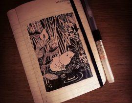 Drawing Moomins in the dark