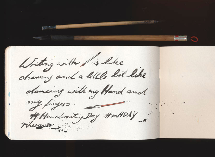 writing with brushes is like dancing with my hand and my fingers
