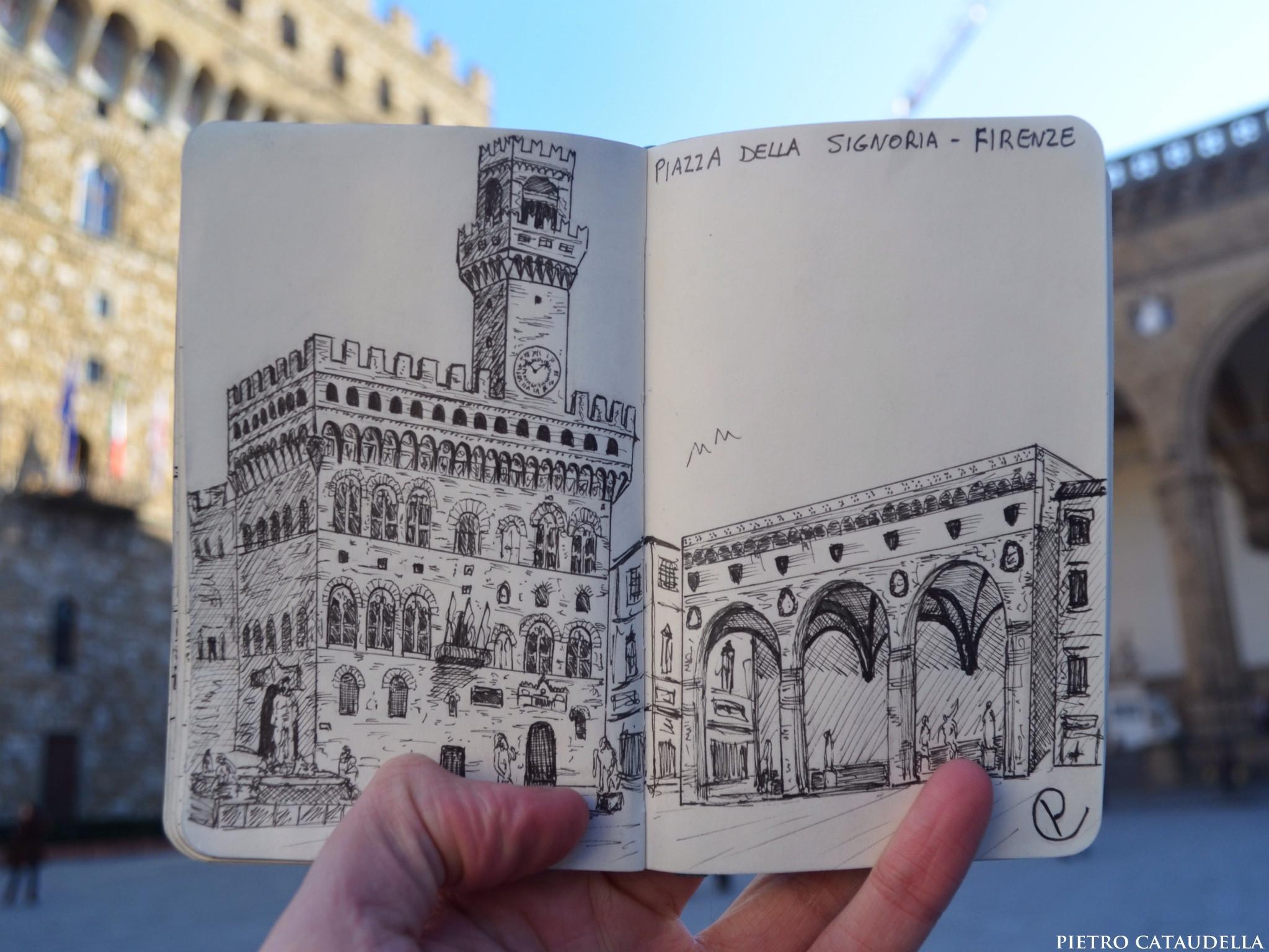 Piazza della Signoria Live Sketch