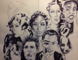 faces. Ballpoint