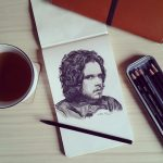 """You know nothing Jon Snow"" – Charcoal Drawing on Moleskine Sketchbook"
