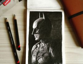 BATMAN – charcoal drawing on Moleskine sketchbook