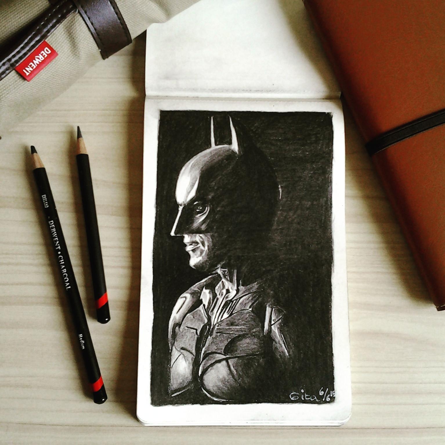 BATMAN – charcoal drawing on Moleskine sketchbook