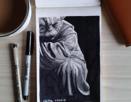 YODA – Star Wars Series Pencil and Marker Drawing on Moleskine Sketchbook