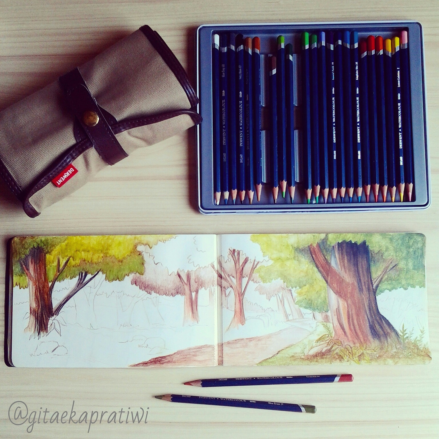 Fairytale Forest – Watercolor Pencils on Moleskine Sketchbook