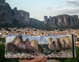 Sketch at Meteora, Greece