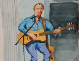 Folk Guitar Watercolor