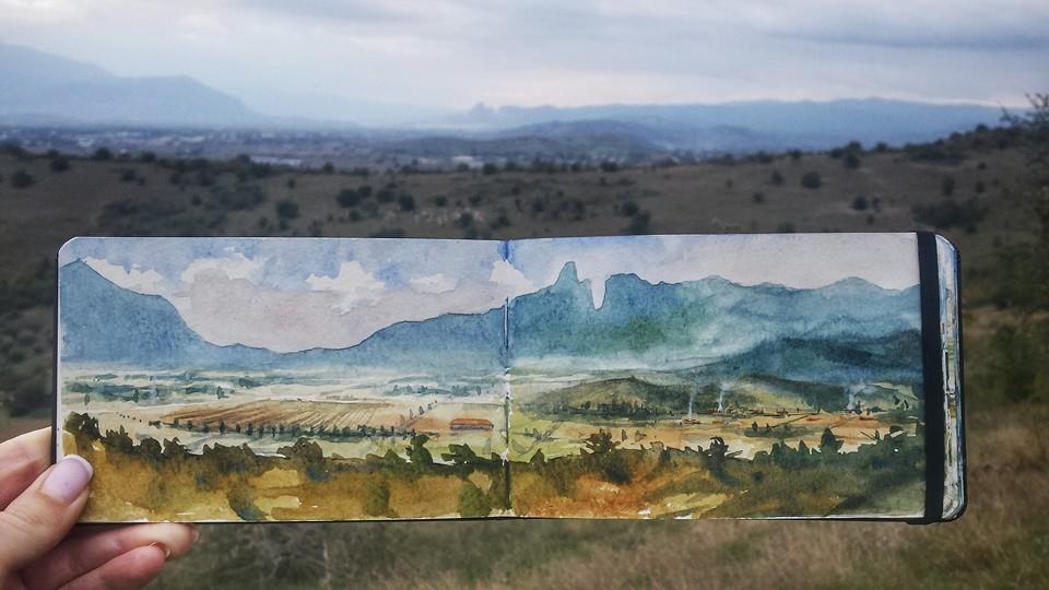 Far view of the Meteora rocks, Greece