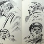 Charcal Drawings in Moleskine of Bomber Command Memorial