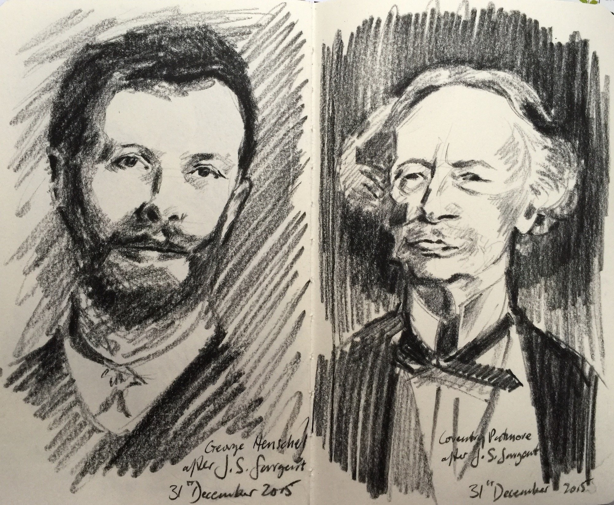 Charcoal Drawings after John Singer Sargent