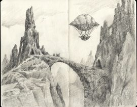 Fantasy Landscape With Airship