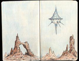 Paysage désertique avec OVNI – Desert landscape with UFO