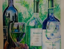 Wine,glass and bottles