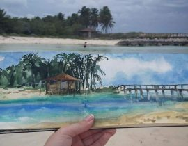 Sketch at Blue Lagoon Island, Bahamas