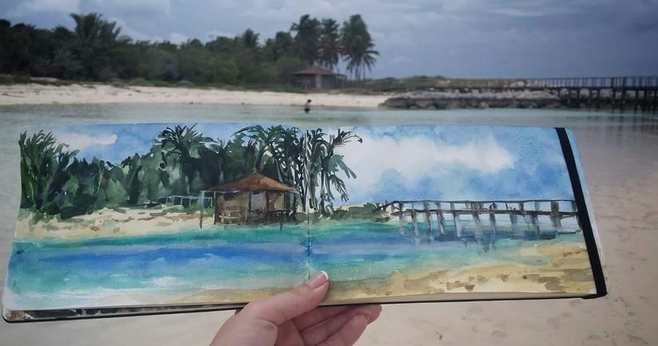 Sketch at Blue Lagoon Island, Bahamas