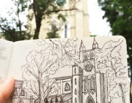 Sketching at St John Cathedral , Hong Kong