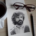 TYRION LANNISTER – Charcoal Drawing on Moleskine Sketchbook