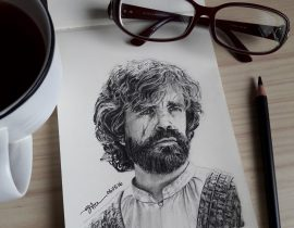 TYRION LANNISTER – Charcoal Drawing on Moleskine Sketchbook