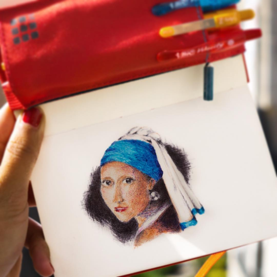 Ballpoint pen portrait of a girl