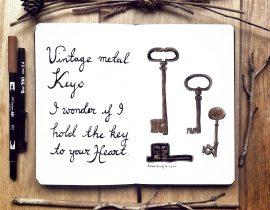 European vintage metal keys.