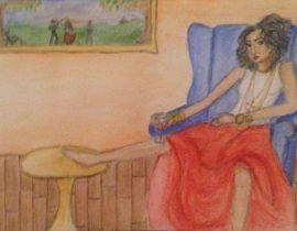 Girl on blue sofa