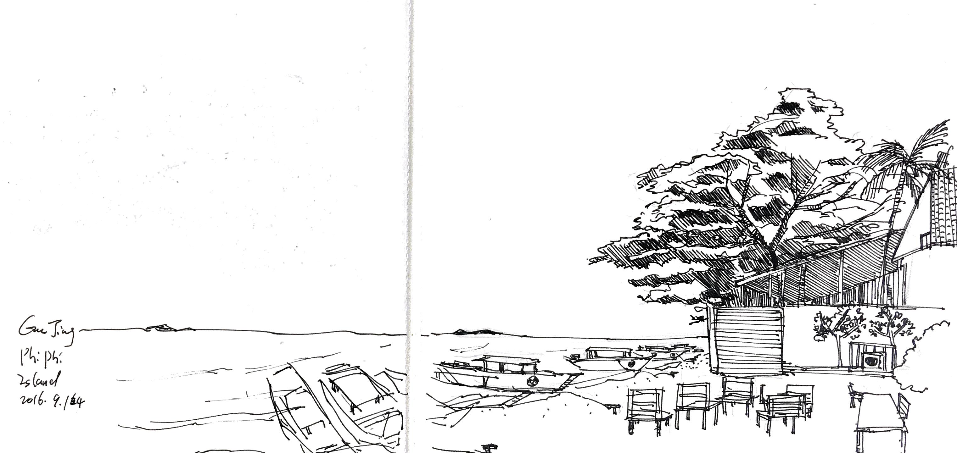 Sketch at Phi Phi island