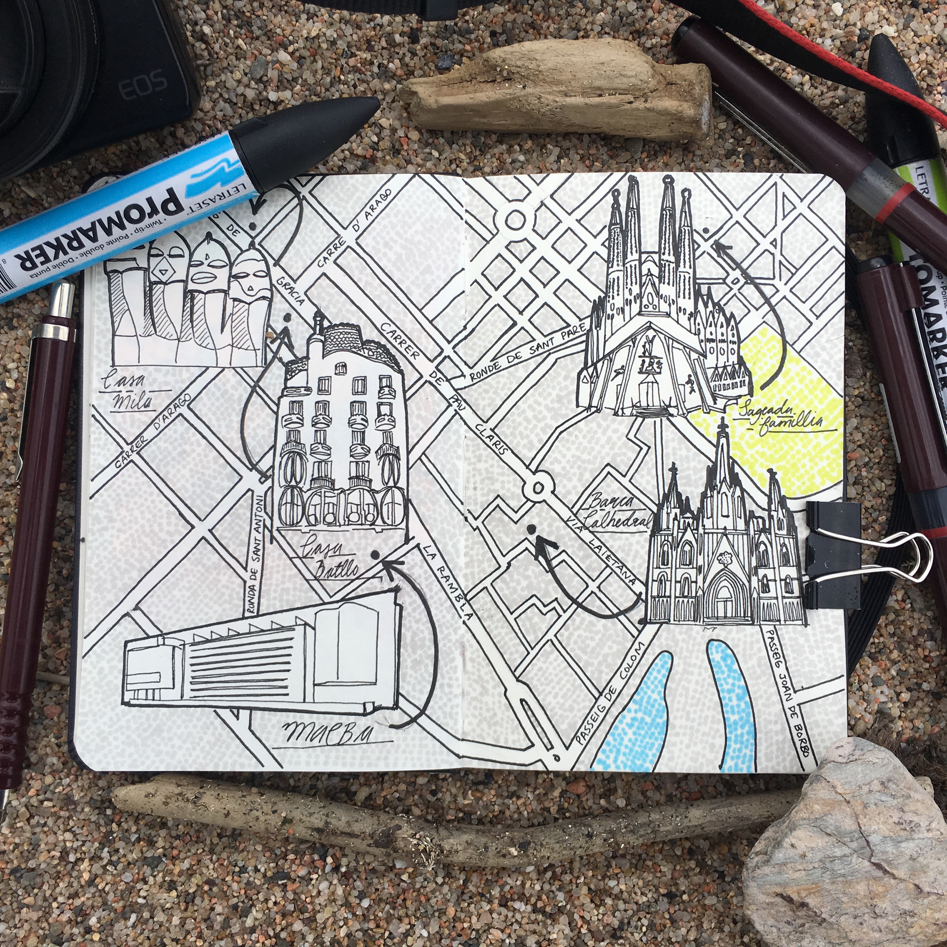 City Map Drawing of Barcelona